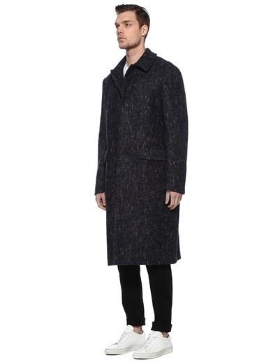 Sartoriale Sartoriale 101523625 Drop 8 Polo Yaka Mikro Desenli Yün Palto Lacivert